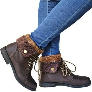 Brown Sweater Top Combat Lace Up Ankle Boot Bootie